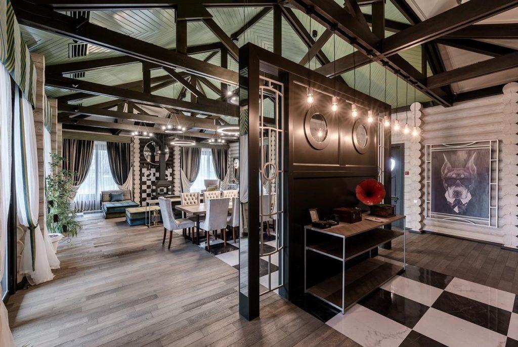 Интерьеры современных деревянных гостиниц и ресторанов