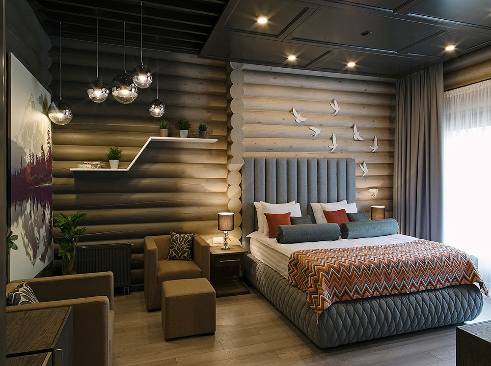 интерьер гостиницы из сруба
