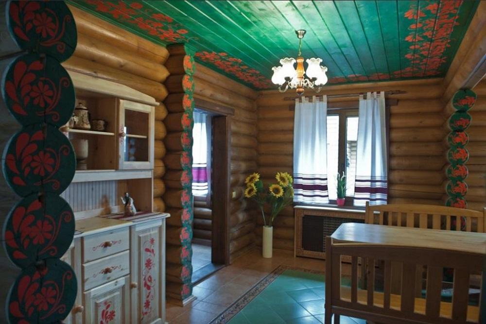 интерьер гостиницы из сруба в деревенском стиле фото