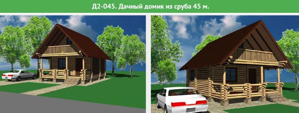 Проект дома из бревна, площадь 45 метров