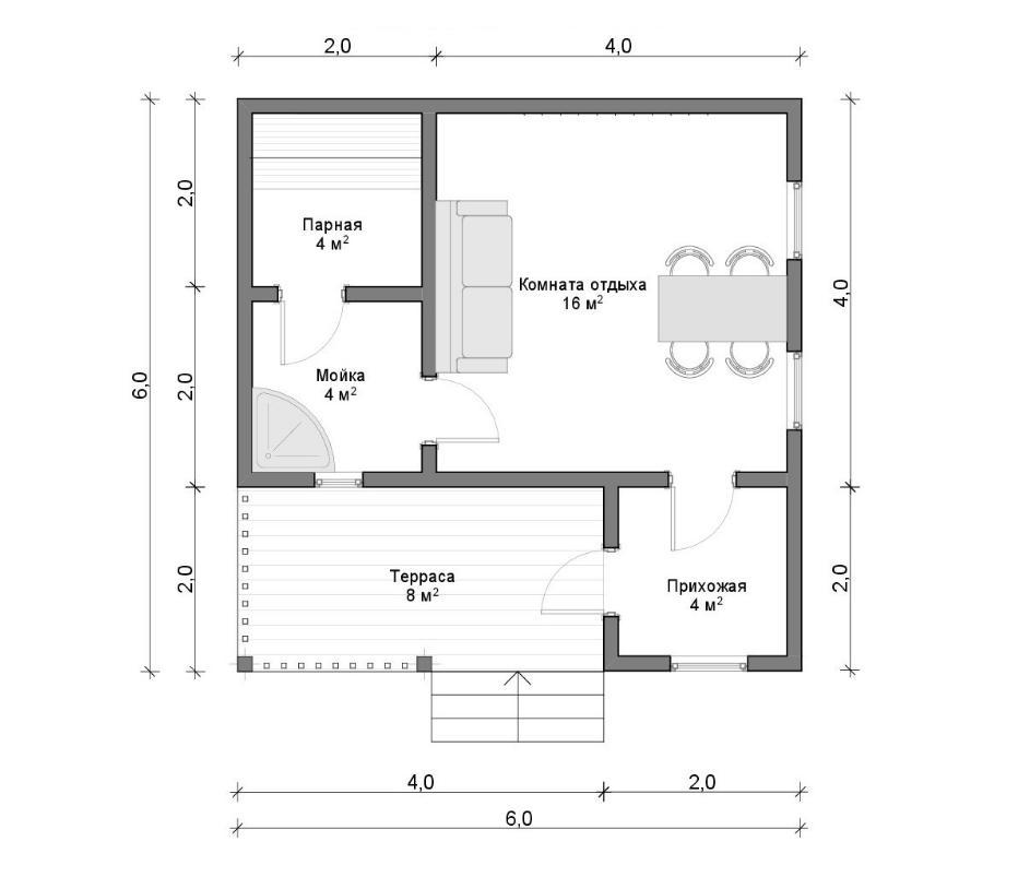 План деревянной бани 6 на 6 метров