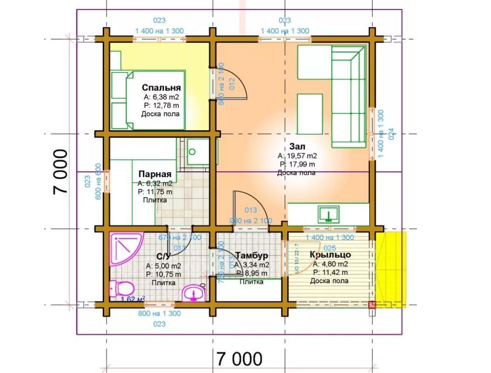 План бани размером 7 на 7 метров