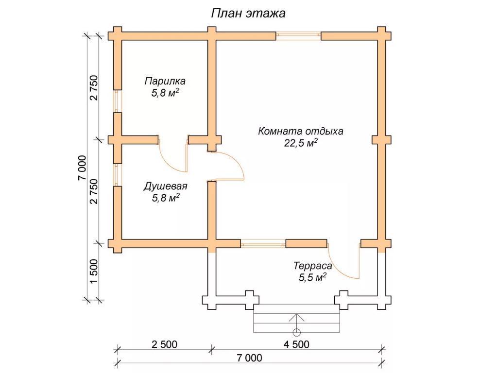 План бани из сруба 7 на 7 метров