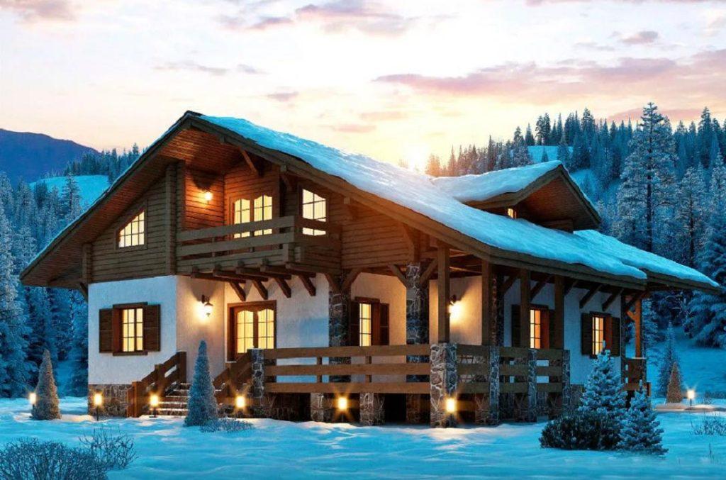 Красивый дом из сруба в горах зимой