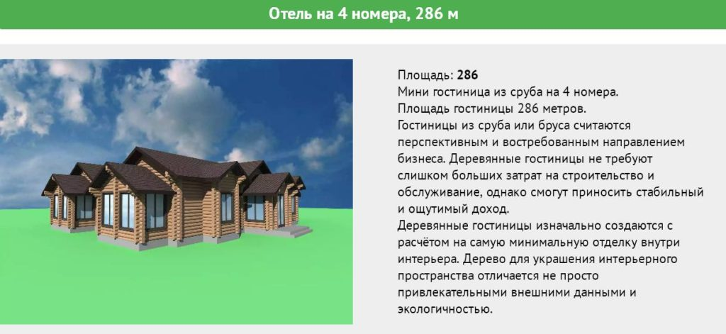 Мини гостиница из сруба на 4 номера, площадь 286 метров