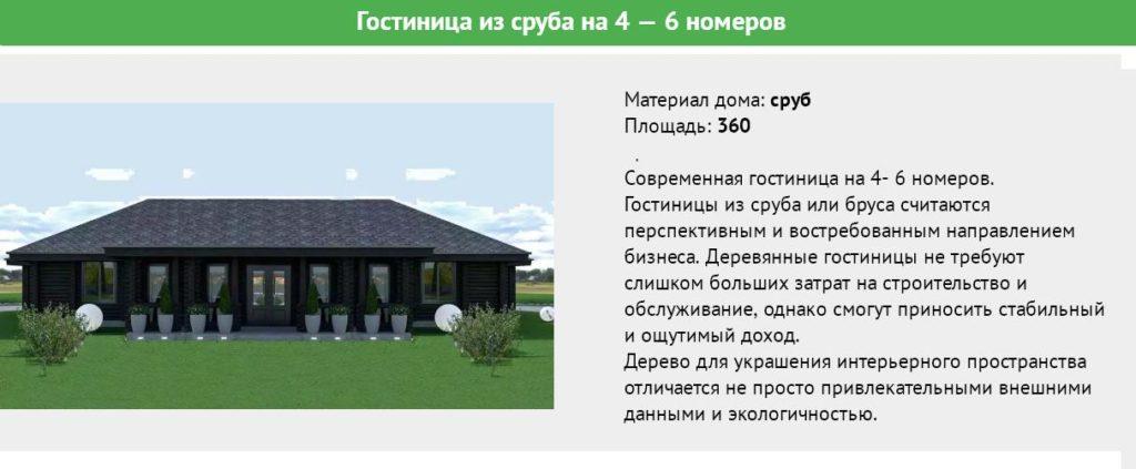 Мини гостиница из сруба на 6 номеров, площадь 360 метров