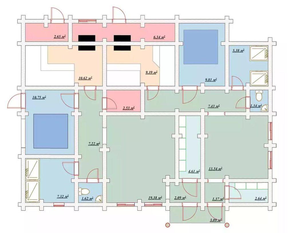 План банного комплекса с двумя бассенами