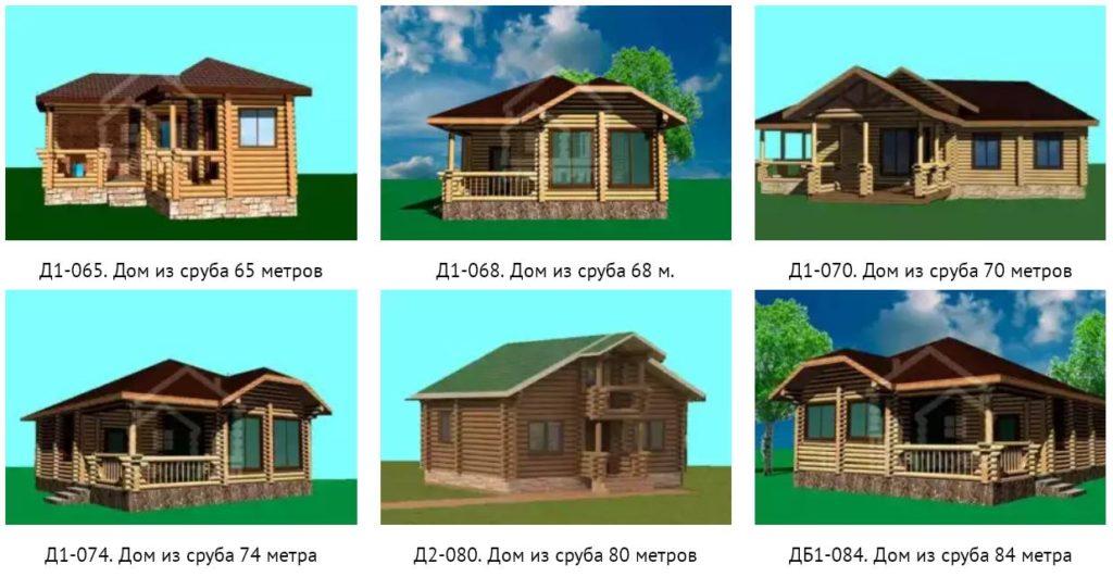 Популярные проекты домов из сруба 65 - 85 метров
