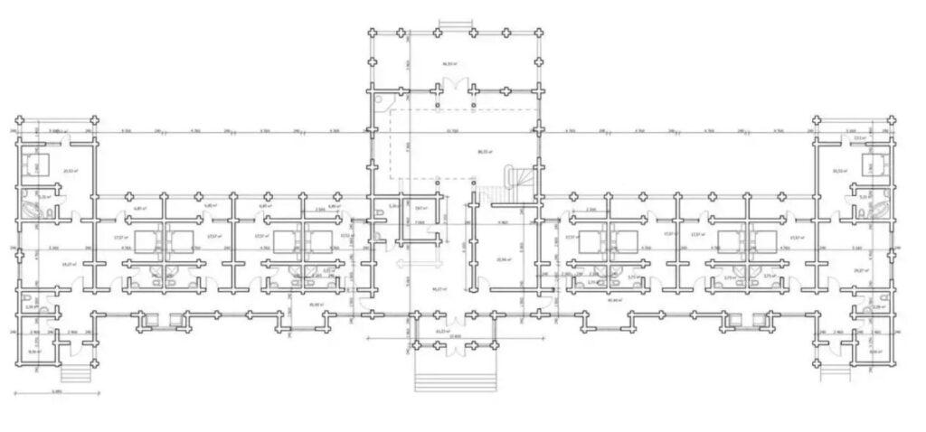 Планировки гостиниц из сруба и бруса