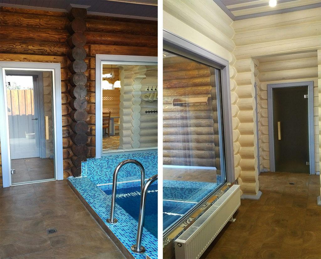 Бревенчатая баня из сруба, фото бассейна
