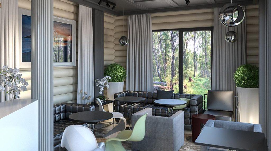 Хол и бар в деревянной гостинице