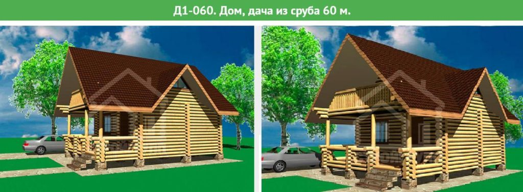 Проект дома из бревна, площадь 60 метров