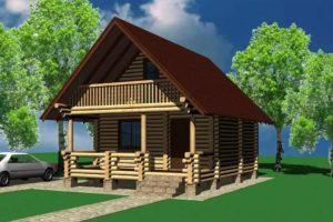 Деревянные дома из сруба с верандой и террасой