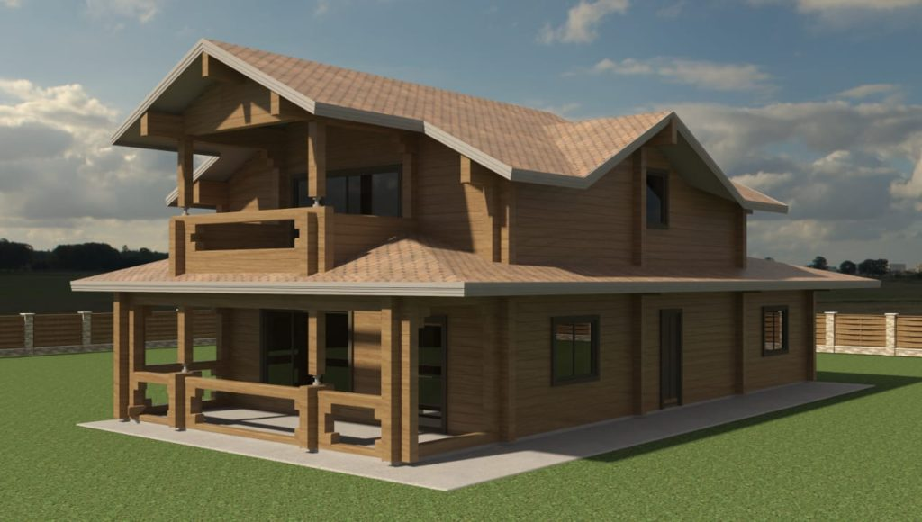 Двухэтажный деревянный дом по индивидуальному проекту