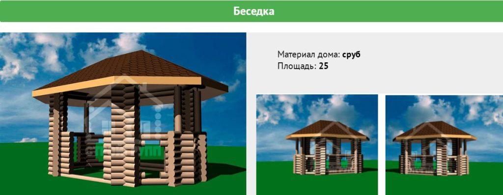 Проекты деревянных беседок из бревна