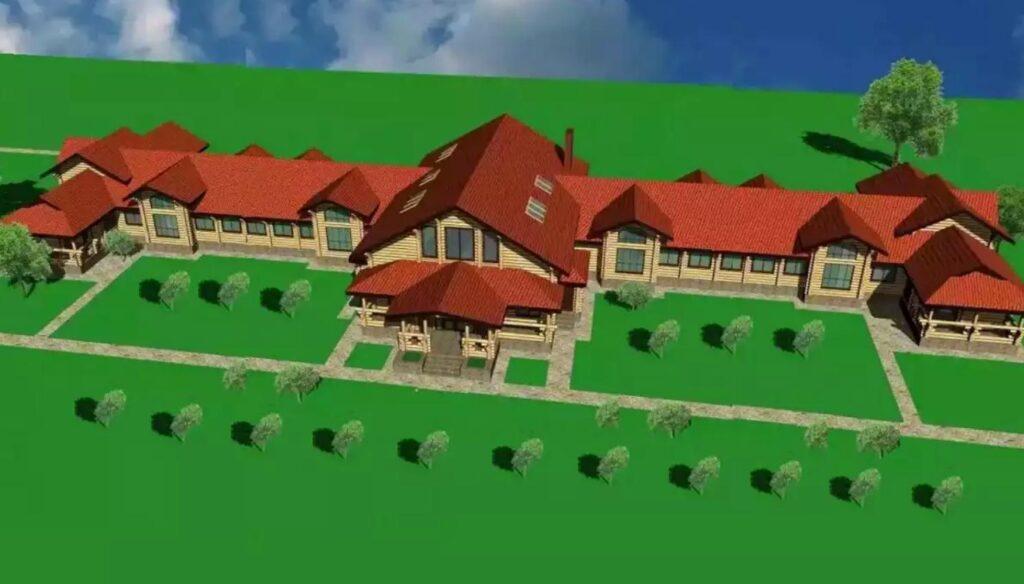 Типовой проект гостиницы из сруба или бруса на 10 - 20 номеров