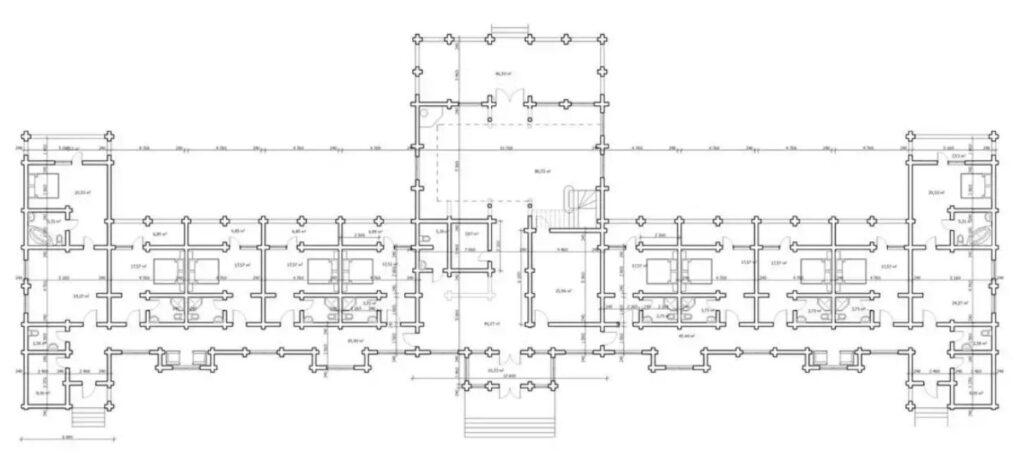 Типовой план гостиницы из сруба или бруса на 10 - 20 номеров