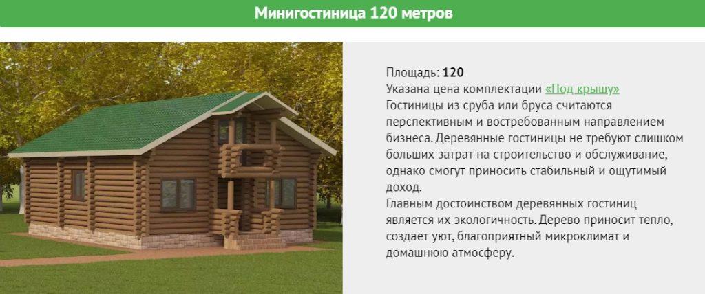 Проект гостиницы площадью 120 метров, два этажа