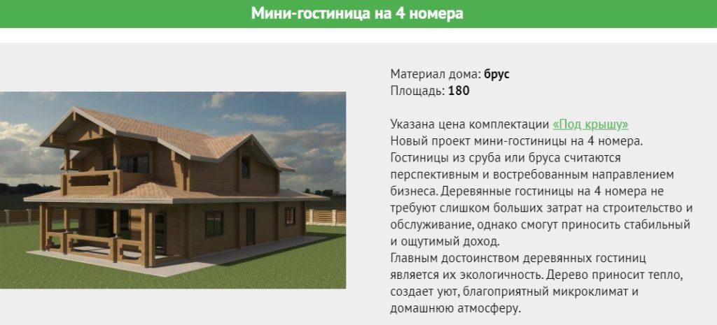 Проект двухэтажной гостиницы площадью 180 метров