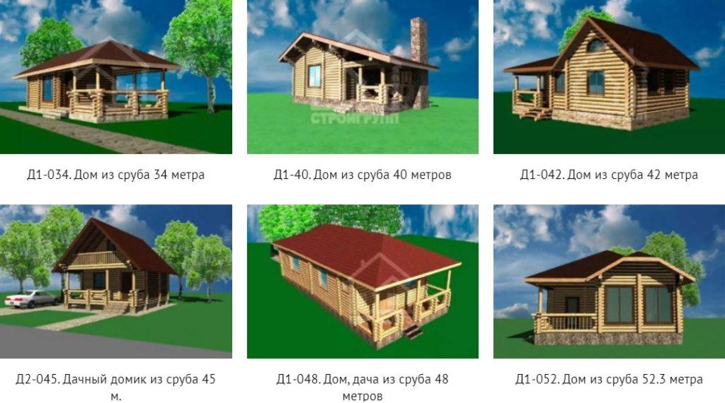 проекты срубовых домов площадью от 30 до 60 метров