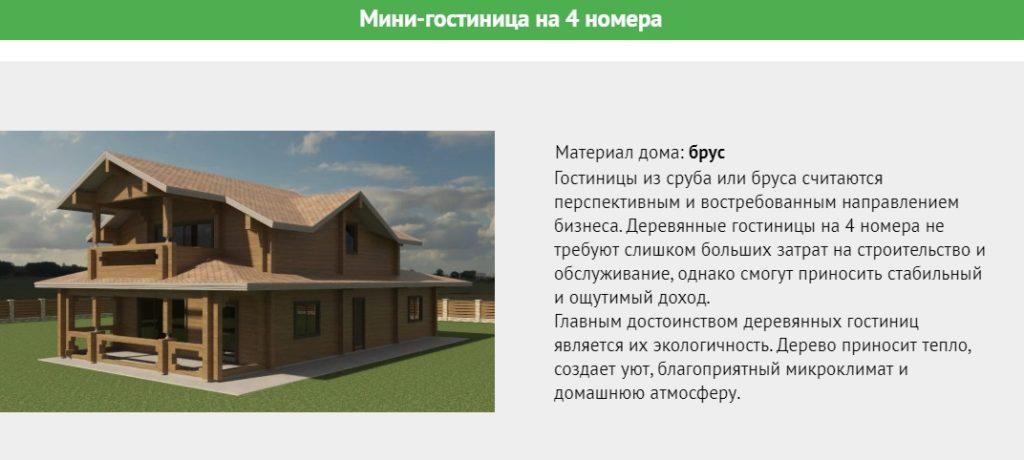 Проект деревянной минигостиницы на 4 номера общей площадью 180 метров.