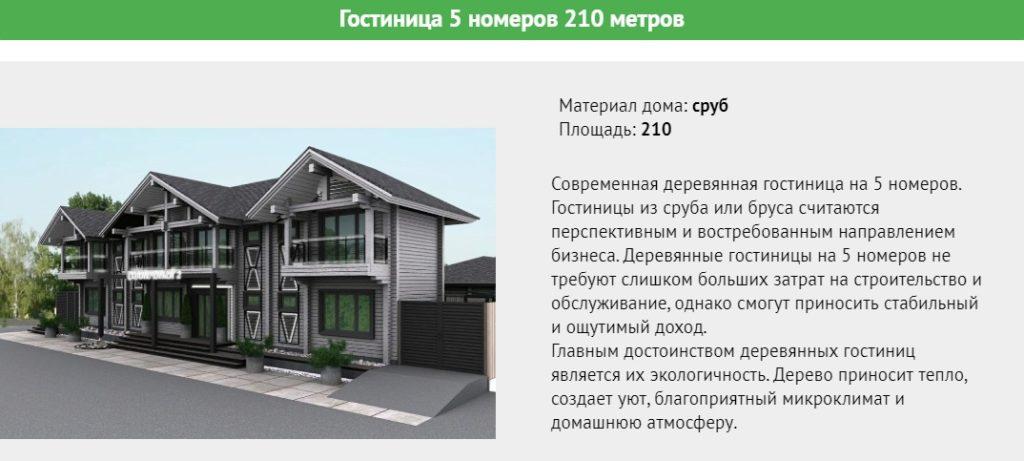 Проект деревянной минигостиницы на 5 номера общей площадью 210 метров.